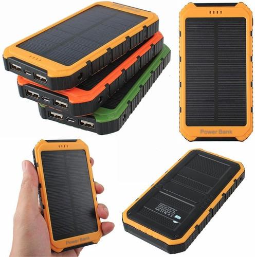 cargador solar + power bank doble puerto portátil de 8000mah