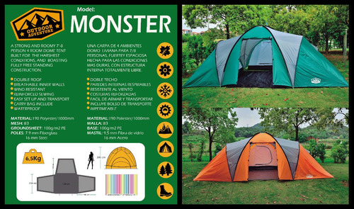 carpa familiar 8 - 9 pers 4 ambientes camping base aislante