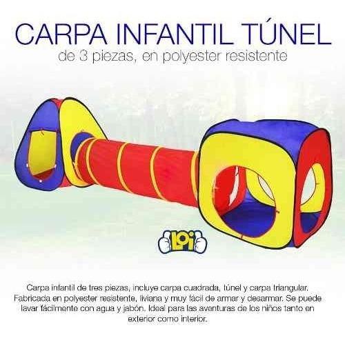 carpa infantil grande doble con túnel nena y varón en loi
