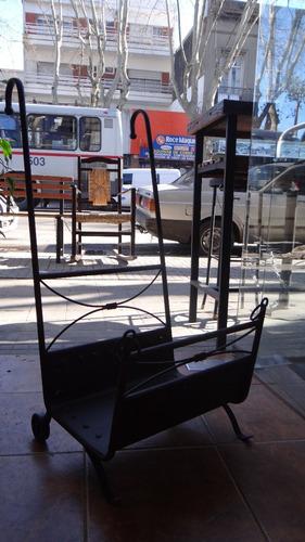 carrito leñero hierro pintado al horno