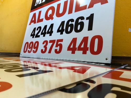 cartel cartonplast 65x50 cms inmobiliaria vende alquila