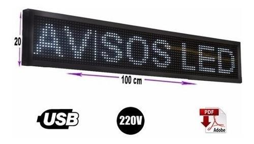cartel luminoso programable leds rojo 20x100cm publicidad®
