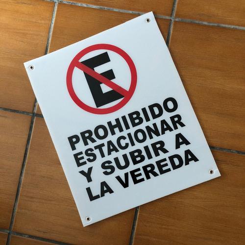 cartel no estacionar, cuidado con el perro, 19x30 cms