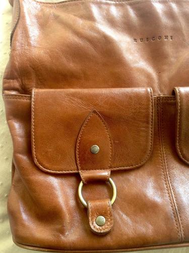 cartera cuero marrón