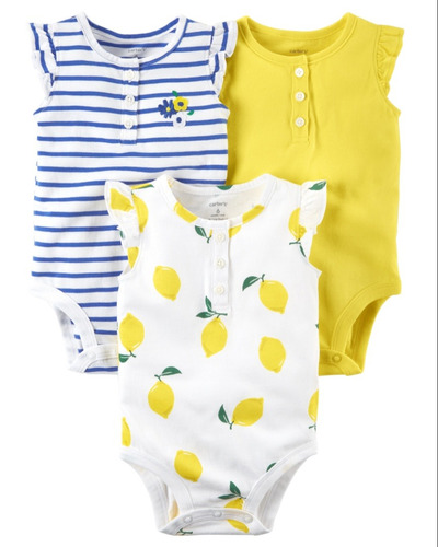 carters 3 pk bodies mc rayas azul y blanco, amaril  eg21