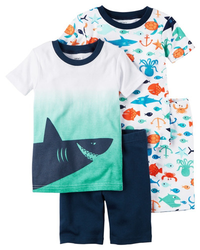 carters set pijama mc ml short tiburon multi az/cl 12m  eg21