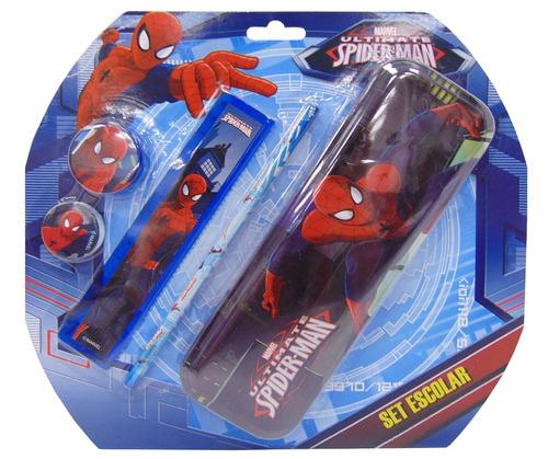 cartuchera con accesorios spiderman