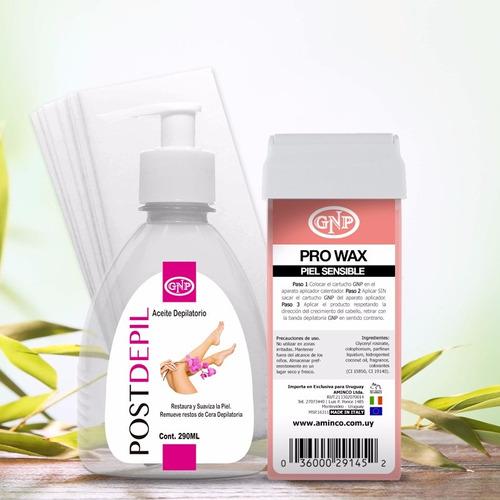 cartucho gnp rosa y aceite depilatorio 290ml y 25 bandas