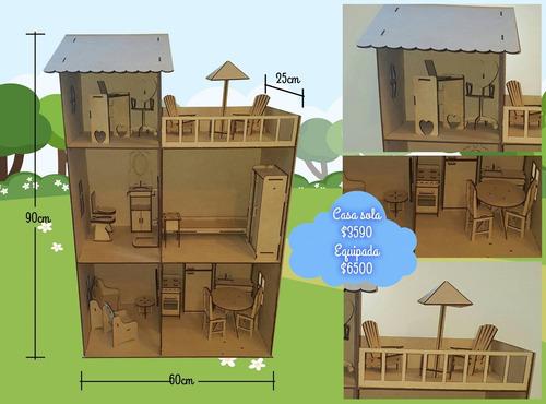 casa de muñeca barbie de  mdf 90cms. completa con 22 muebles