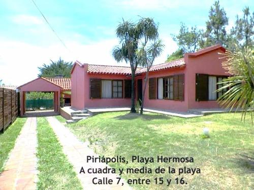 casa en piriápolis 3 dormitorios hasta 6 pers. playa hermosa