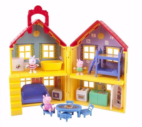 casa peppa pig + família completa + carro fisher price