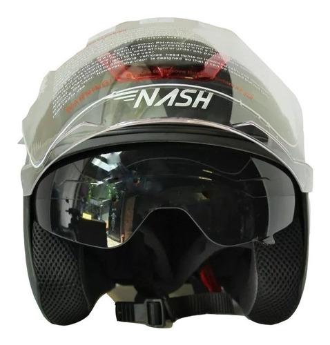 casco abierto nash maxx shiro nenki con visor y lentes uv
