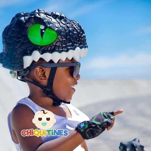 casco niños bicicleta, monotpatin dragon black crazy safety