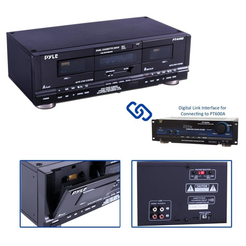 casetera pyle home digital tuner dual cassette deck | media