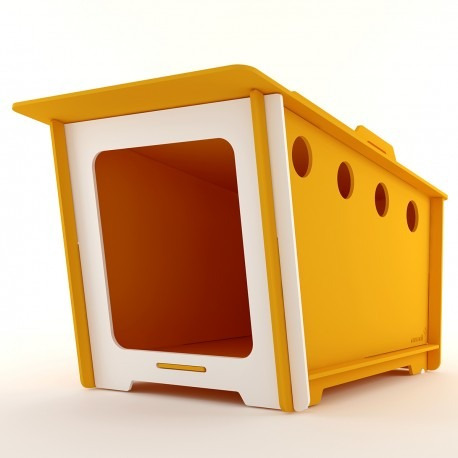 casinha ecológica p/ cachorro grande minihaus amarelo pet g