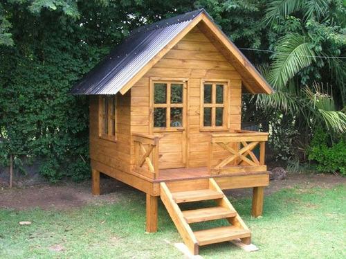 Casita de madera para ni os en mercado libre - Casita con tobogan para ninos ...