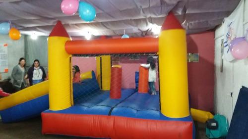 castillo inflable c/tobogán-cama elástica -caritas pintadas