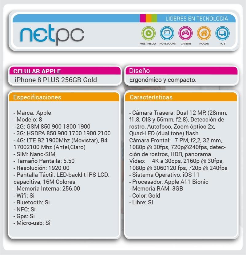 b45159953a5 Celular Apple iPhone 8 Plus 256gb Gold - Netpc - U$S 1.567,00 en ...