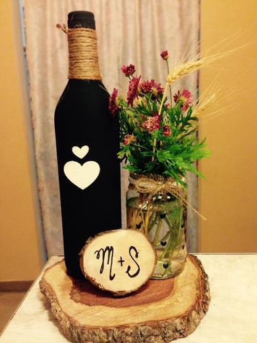 centro de mesa botellas fiesta boda 15años comunion bautismo