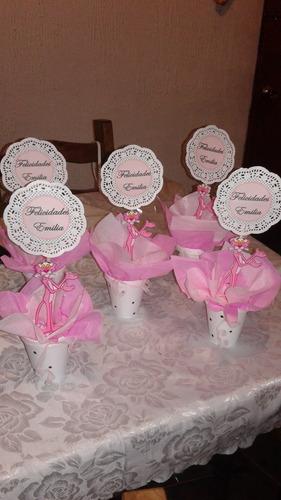 centro de mesa o adorno de la pantera rosa en forma de vaso