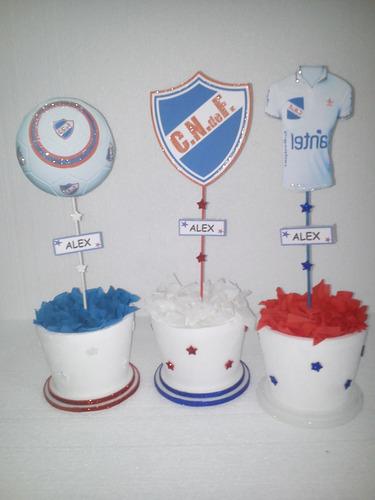 centros de mesa echos en tarros del club nacional de footbal