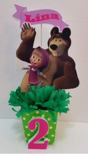 centros de mesa personalizados masha y el oso