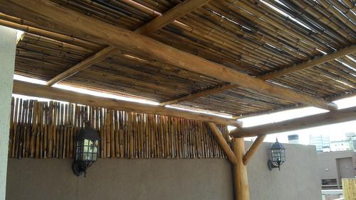 cerco de caña tacuara bambu flameado - quemado x 1.5 alto