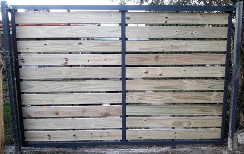 cerramiento perimetral en hierro y madera - herrería 2 manos