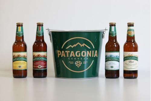 cerveza patagonia 355 cc 4 unidades + balde