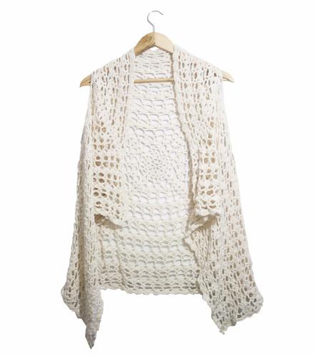 chaleco abierto crochet hecho en uruguay