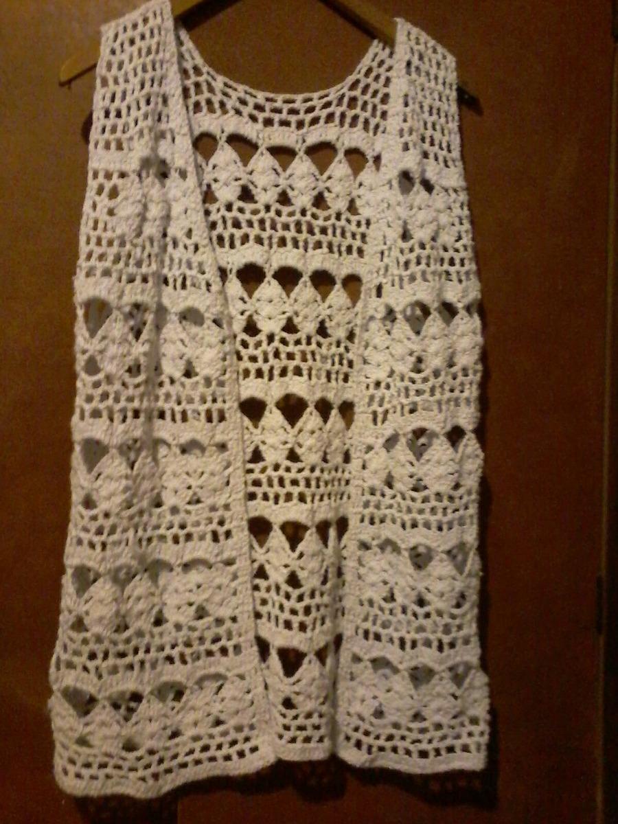 chaleco tejedo en crochet en hilo 500 00 en mercado libre