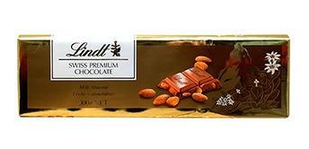chocolate lindt leche y almendras 300 gramos