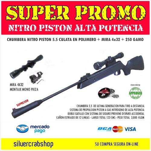 chumbera nitro piston 5.5 + mira 4x32 + 250 chumbos gamo