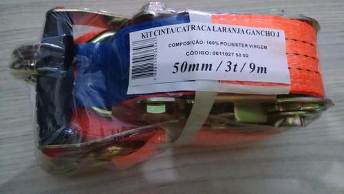 cinta catraca p/ cargas 3 toneladas+cinta 9 mtsx0,50mm