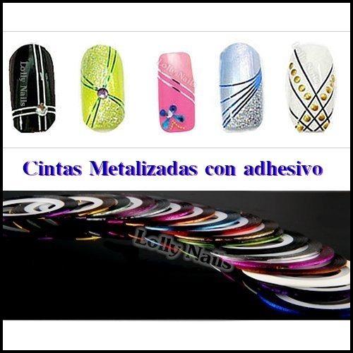 cintas metalizadas con adhesivo.nail art.uñas.esmaltes