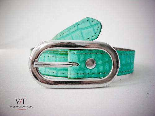 cinto cinturón croco verde en cuero valeria fonsalía