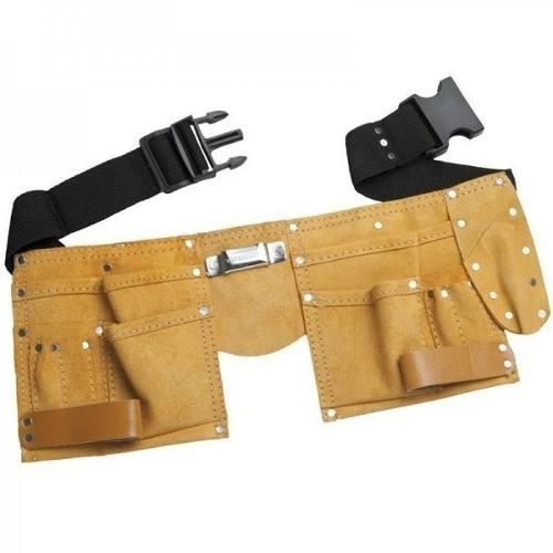 cinto para ferramentas em couro com 11 bolsos
