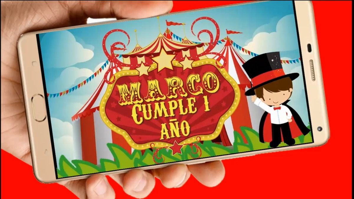 Circo Vídeo Tarjeta Invitación Digital Cumpleaños Whapsapp