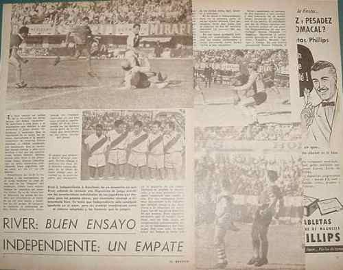 clipping futbol 1961 river plate independiente 3 pgs