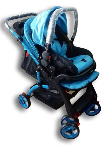 coche de bebé con babysilla 3 posiciones celeste el cerro