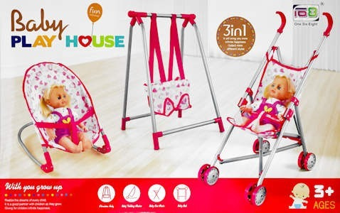 coche para bebe - muñeca - 3 en 1 -coche hamaca - sillita