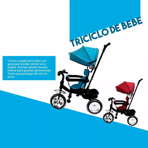 coche triciclo con capota canasto y guía cochecito a pedal