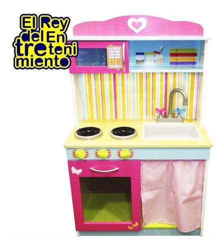 cocina completa madera infantil niños + regalo peppa! el rey