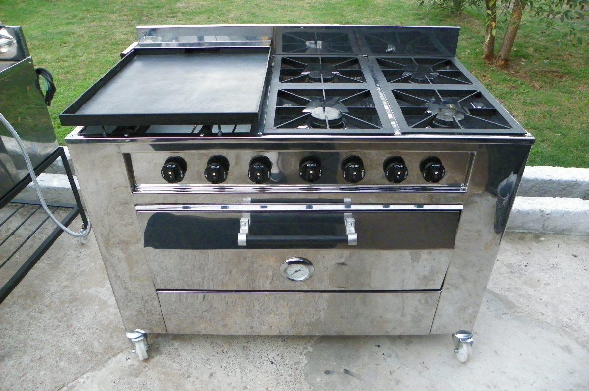 Cocina industrial gas 4 hornallas plancha y horno 48 for Costo de cocina industrial