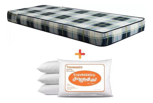 colchón 1 plaza espuma reversible + 1 almohada de regalo