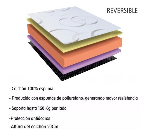 colchon 2 plazas ortopedico 150 kg alta densidad espuma