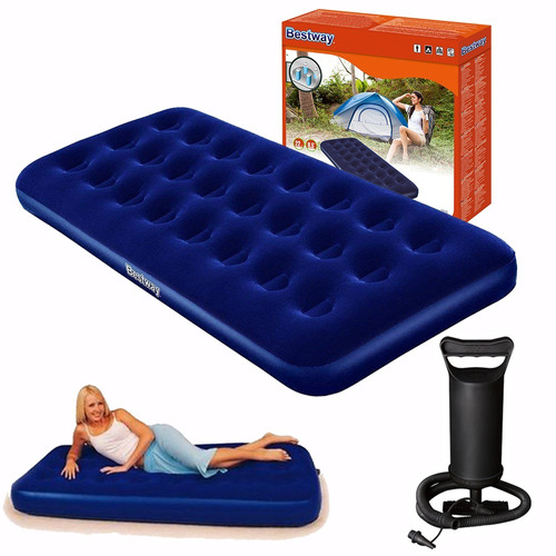 colchón inflable 1 plaza + inflador - camping - muebles web