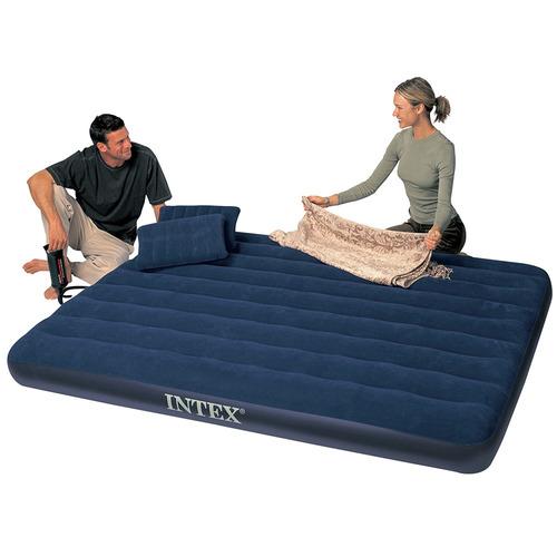 colchón inflable 152x203x22cm + 2 almohadas + inflador