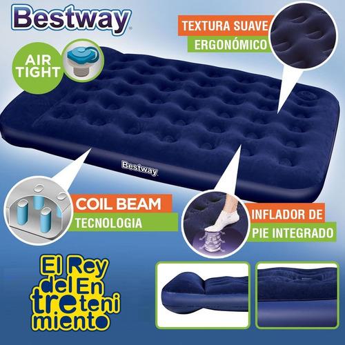 colchón inflable bestway 2 plazas c/ inflador camping el rey