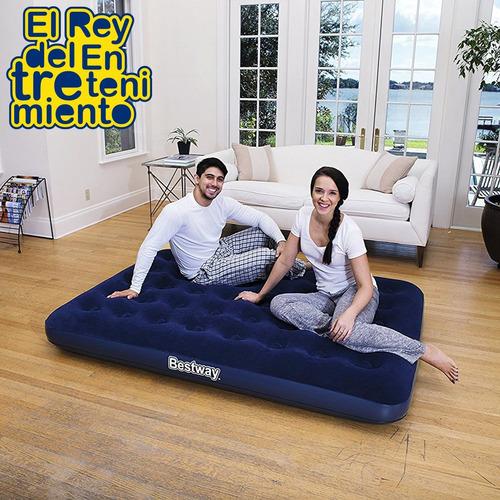 colchón inflable bestway 2 plazas camping + inflador  el rey